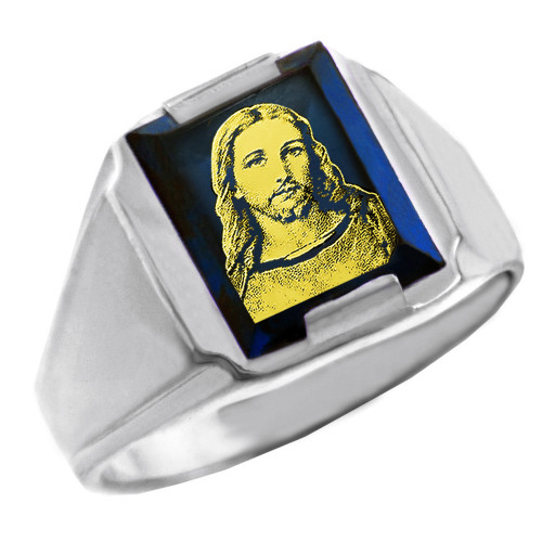 Solid White Gold Blue CZ Stone Jesus Christ Signet Men's Ring