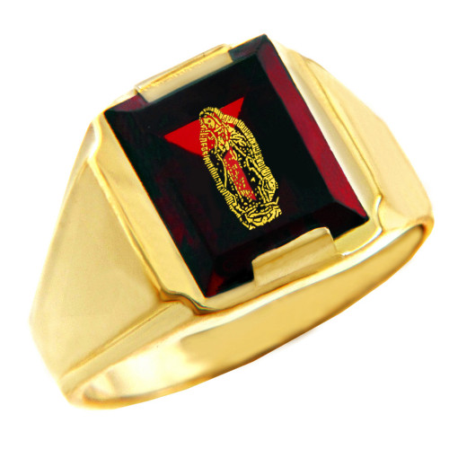 Solid Yellow Gold Red CZ Stone Our Lady of Guadalupe Signet Men's Ring