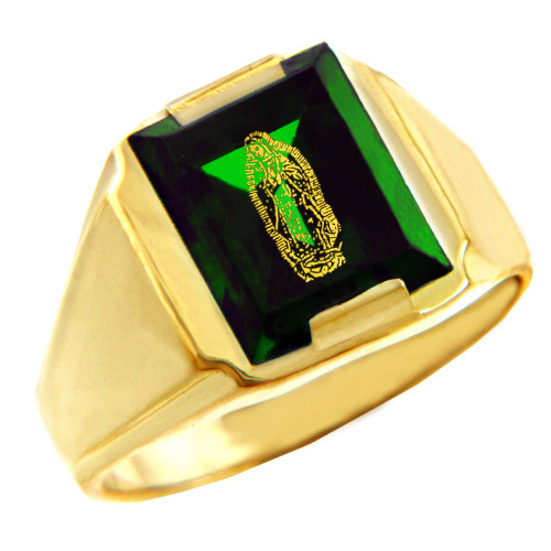 Solid Yellow Gold Green CZ Stone Our Lady of Guadalupe Signet Men's Ring