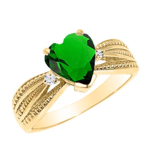 Beautiful Yellow Gold Emerald (LCE) and Diamond Proposal Ring