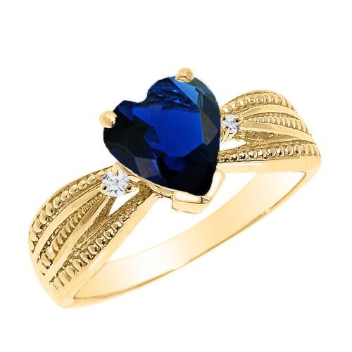 Beautiful Yellow Gold Sapphire (LCS) and Diamond Proposal Ring