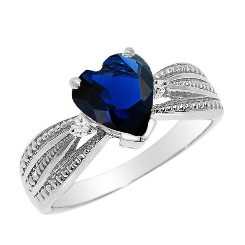 Beautiful White Gold Sapphire (LCS) and Diamond Proposal Ring