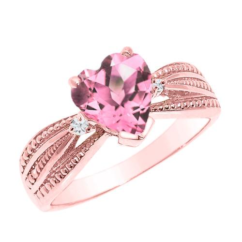 Beautiful Rose Gold Pink CZ and Diamond Proposal Ring