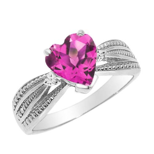 Beautiful White Gold Alexandrite (LCAL) and Diamond Proposal Ring