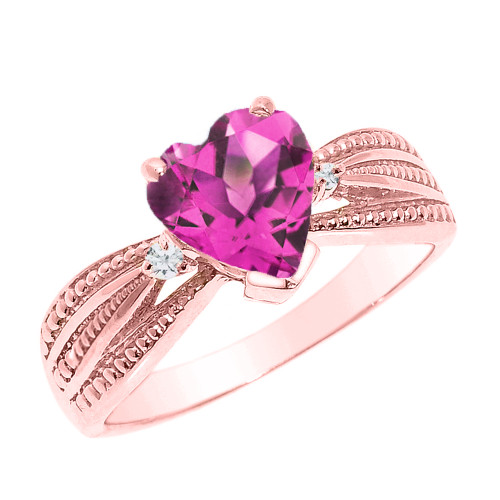 Beautiful Rose Gold Alexandrite (LCAL) and Diamond Proposal Ring