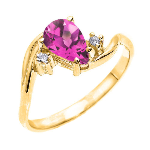 Yellow Gold Pear Shaped Alexandrite (LCAL) and Diamond Proposal Ring