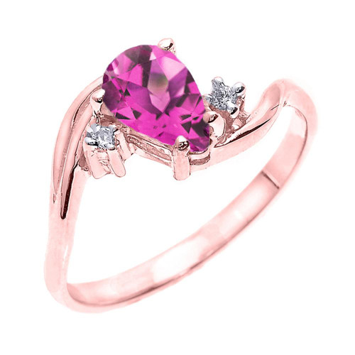 Rose Gold Pear Shaped Alexandrite (LCAL) and Diamond Proposal Ring