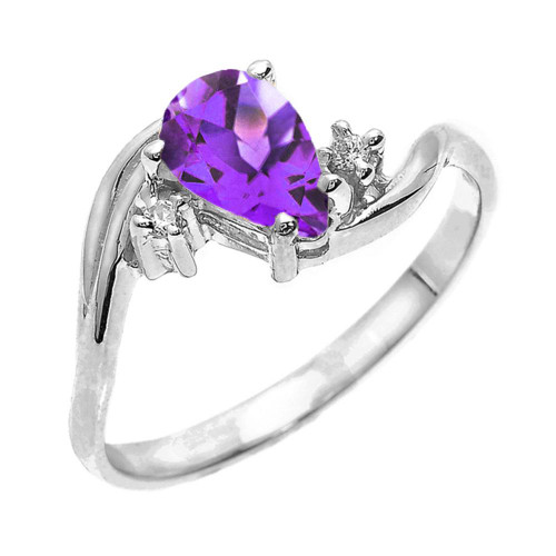 White Gold Pear Shaped Amethyst and Diamond Proposal Ring