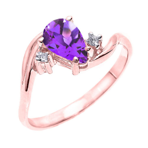 Rose Gold Pear Shaped Amethyst and Diamond Proposal Ring