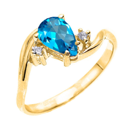 Yellow Gold Pear Shaped Blue Topaz and Diamond Proposal Ring