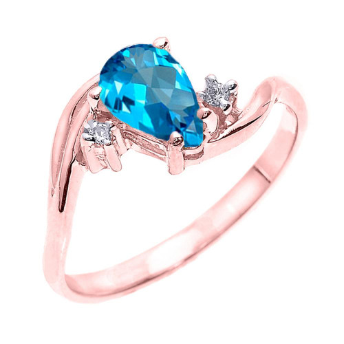 Rose Gold Pear Shaped Blue Topaz and Diamond Proposal Ring
