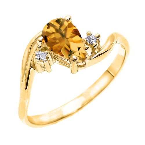 Yellow Gold Pear Shaped Citrine and Diamond Proposal Ring