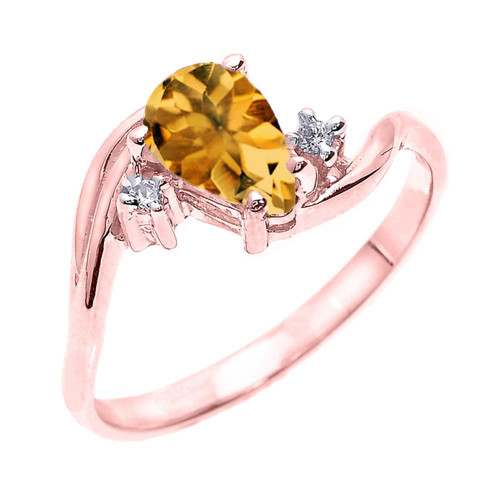 Rose Gold Pear Shaped Citrine and Diamond Proposal Ring