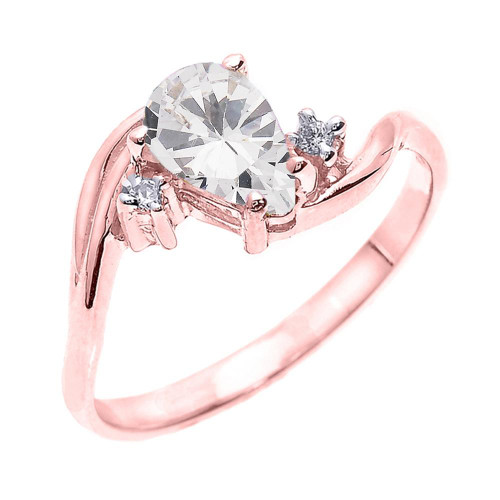 Rose Gold Pear Shaped CZ and Diamond Proposal Ring