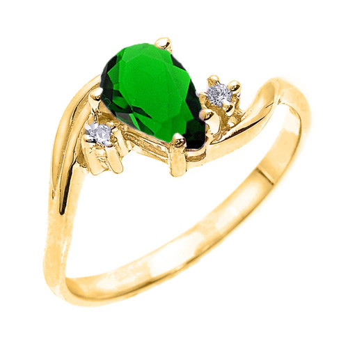 Yellow Gold Pear Shaped Emerald (LCE) and Diamond Proposal Ring