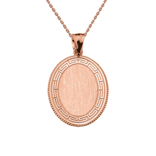 Greek Key Rose Gold Engravable Oval Pendant