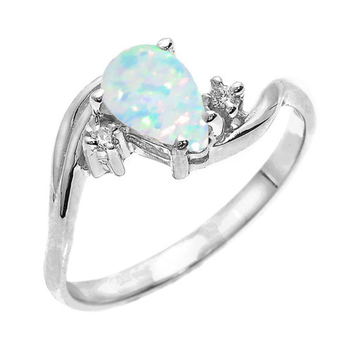 White Gold Pear Shaped Opal (LCO) and Diamond Proposal Ring