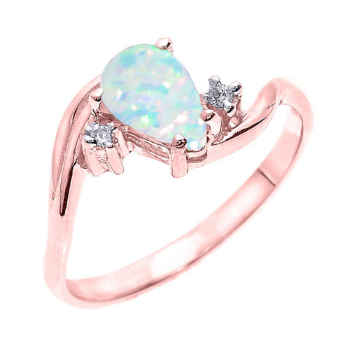 Rose Gold Pear Shaped Opal (LCO) and Diamond Proposal Ring