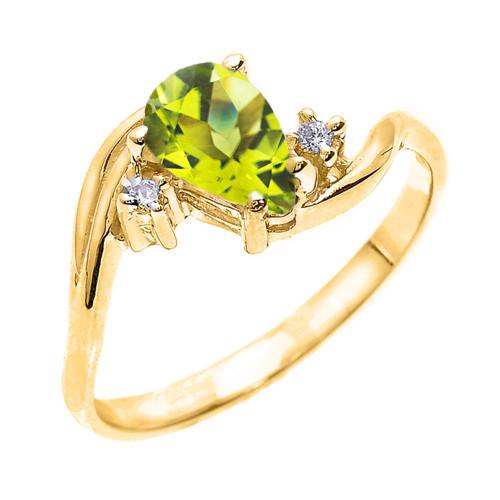 Yellow Gold Pear Shaped Peridot and Diamond Proposal Ring