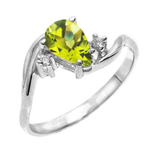 White Gold Pear Shaped Peridot and Diamond Proposal Ring