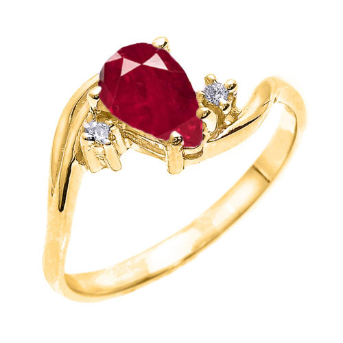 Yellow Gold Pear Shaped Ruby (LCR) and Diamond Proposal Ring