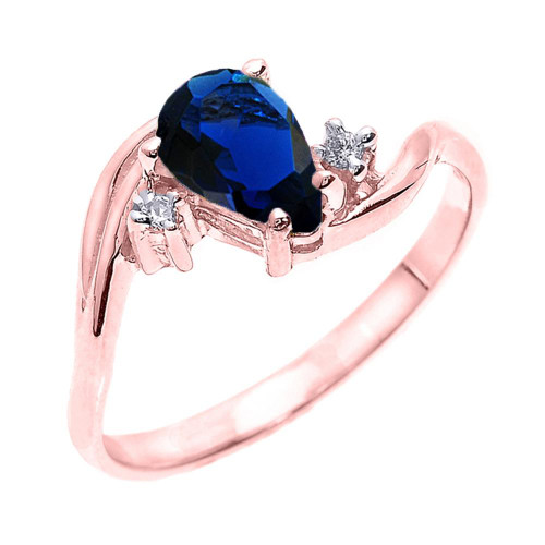 Rose Gold Pear Shaped Sapphire (LCS) and Diamond Proposal Ring