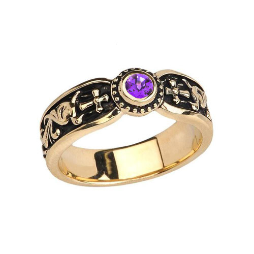 Yellow Gold Amethyst Side Way Cross Vintage Solitaire Wedding Band/Ring