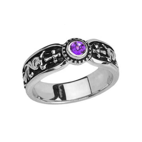 White Gold Amethyst Side Way Cross Vintage Solitaire Wedding Band/Ring