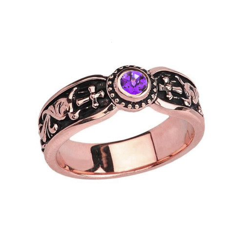 Rose Gold Amethyst Side Way Cross Vintage Solitaire Wedding Band/Ring