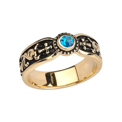 Yellow Gold Blue Topaz Side Way Cross Vintage Solitaire Wedding Band/Ring
