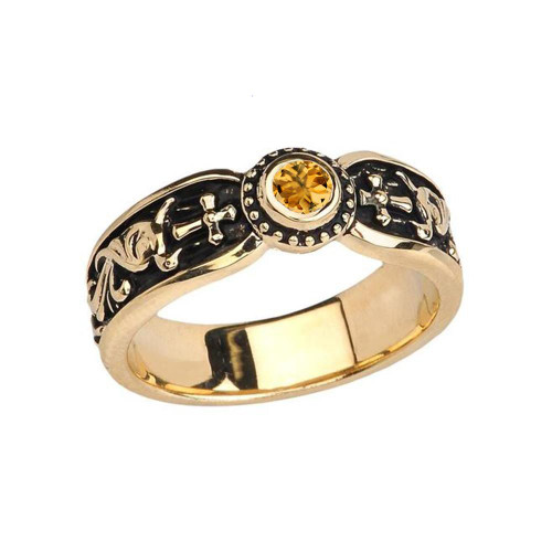 Yellow Gold Citrine Side Way Cross Vintage Solitaire Wedding Band/Ring