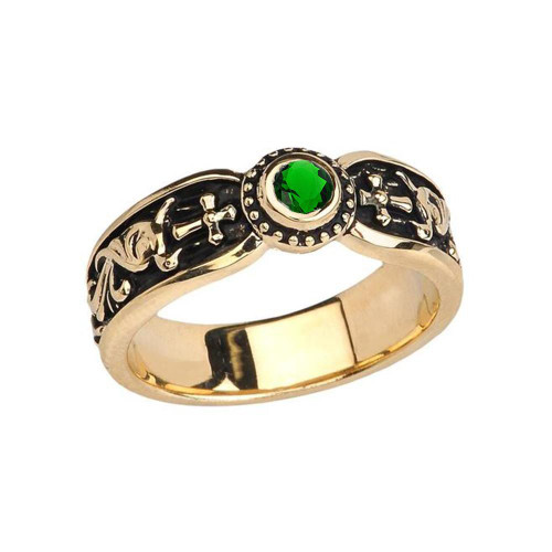 Yellow Gold Emerald (LCE) Side Way Cross Vintage Solitaire Wedding Band/Ring
