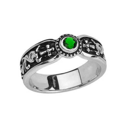 White Gold Emerald (LCE) Side Way Cross Vintage Solitaire Wedding Band/Ring