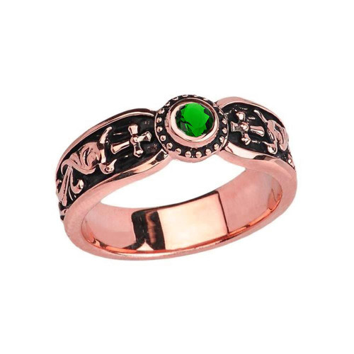 Rose Gold Emerald (LCE) Side Way Cross Vintage Solitaire Wedding Band/Ring