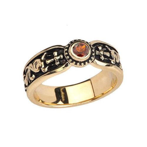 Yellow Gold Garnet Side Way Cross Vintage Solitaire Wedding Band/Ring