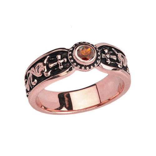 Rose Gold Garnet Side Way Cross Vintage Solitaire Wedding Band/Ring