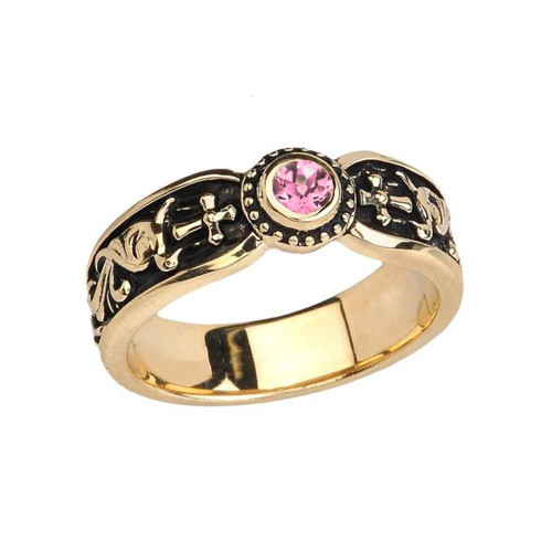 Yellow Gold Pink CZ Side Way Cross Vintage Solitaire Wedding Band/Ring