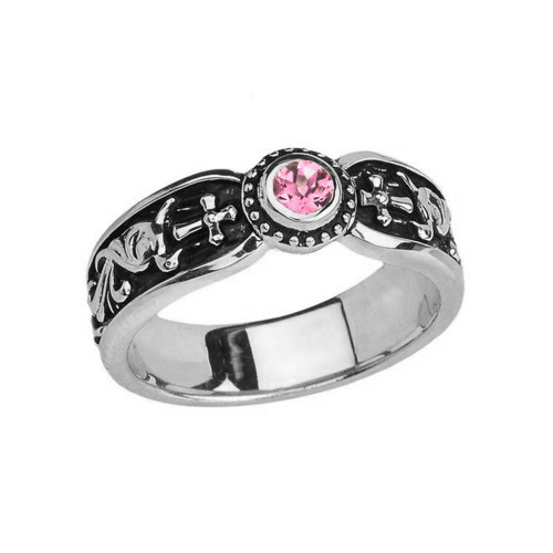 White Gold Pink CZ Side Way Cross Vintage Solitaire Wedding Band/Ring
