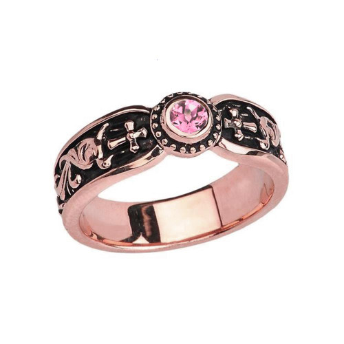 Rose Gold Pink CZ Side Way Cross Vintage Solitaire Wedding Band/Ring