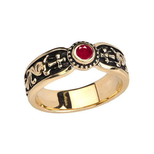 Yellow Gold Ruby (LCR) Side Way Cross Vintage Solitaire Wedding Band/Ring