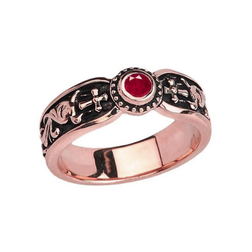 Rose Gold Ruby (LCR) Side Way Cross Vintage Solitaire Wedding Band/Ring