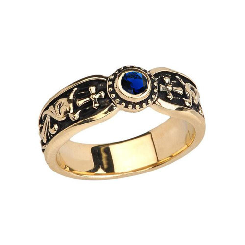 Yellow Gold Sapphire (LCS) Side Way Cross Vintage Solitaire Wedding Band/Ring