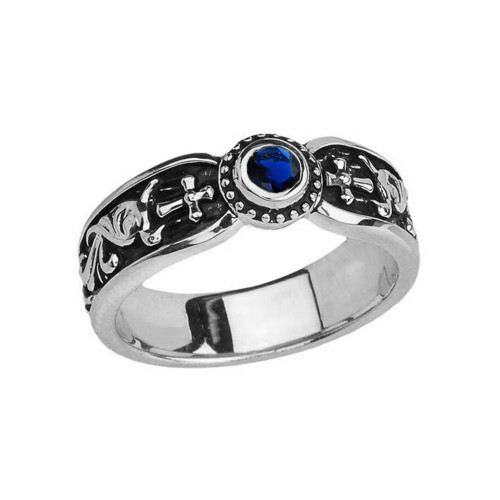 White Gold Sapphire (LCS) Side Way Cross Vintage Solitaire Wedding Band/Ring
