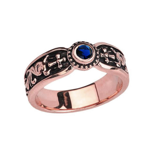 Rose Gold Sapphire (LCS) Side Way Cross Vintage Solitaire Wedding Band/Ring