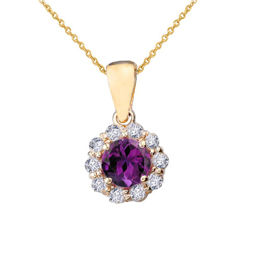 14k Yellow Gold Dainty Floral Diamond Center Stone Amethyst Pendant Necklace