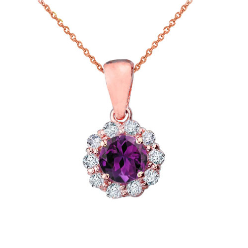 14k Rose Gold Dainty Floral Diamond Center Stone  Amethyst Pendant Necklace