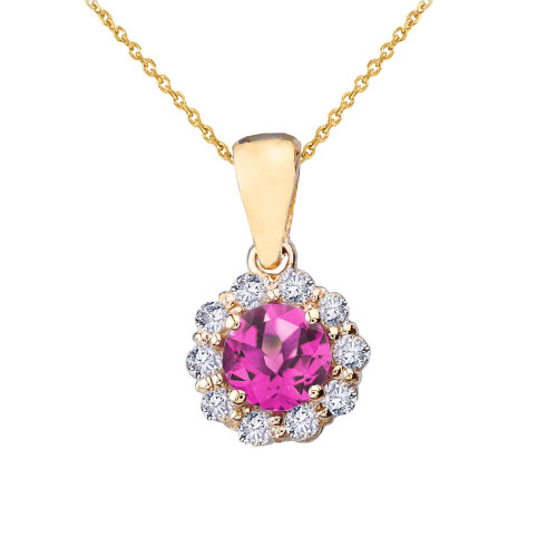 14k Yellow Gold Dainty Floral Diamond Center Stone Alexandrite (LCAL) Pendant Necklace