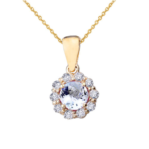 14k Yellow Gold Dainty Floral Diamond Center Stone Aquamarine Pendant Necklace