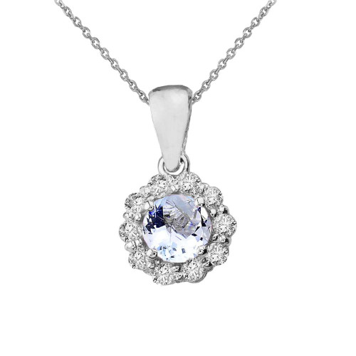 14k White Gold Dainty Floral Diamond Center Stone Aquamarine Pendant Necklace