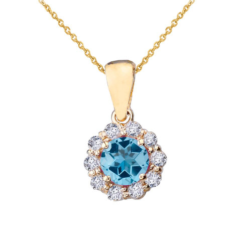 14k Yellow Gold Dainty Floral Diamond Center Stone Blue Topaz Pendant Necklace
